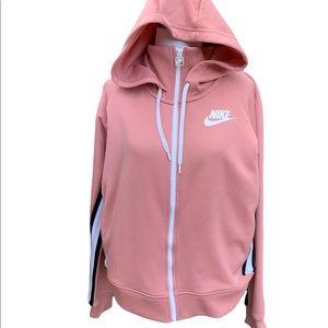 Nike Pink Black White Stripe NSW Track Jacket Hoodie Size Medium